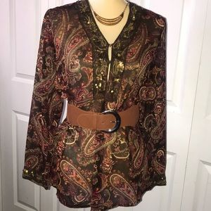 NWOT White Stag BEADED BLOUSE Brown Clay